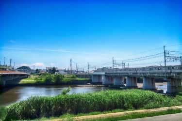 鶴見川渓流はバクの形綱島駅鶴見川の案内板